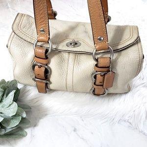 Coach Chelsea Pebbled Leather Cream Satchel Bag